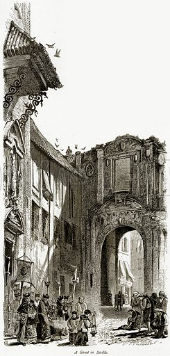 A Street in Seville. Illustration from Picturesque Europe (Cassell, c 1880).