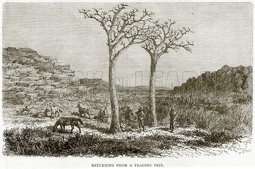 Returning from a Trading Trip. Illustration from Illustrated Travels edited by HW Bates (Cassell, c 1880).