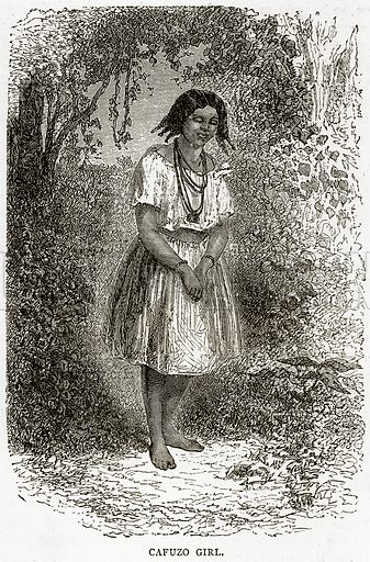 Cafuzo Girl. Illustration from Illustrated Travels edited by HW Bates (Cassell, c 1880).