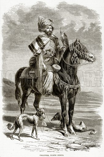 Falconer, North Persia. Illustration from Illustrated Travels edited by HW Bates (Cassell, c 1880).