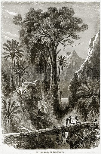 On the Road to Tananarivo. Illustration from Illustrated Travels edited by HW Bates (Cassell, c 1880).