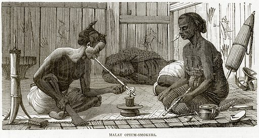 Malay Opium-Smokers. Illustration from Illustrated Travels edited by HW Bates (Cassell, c 1880).