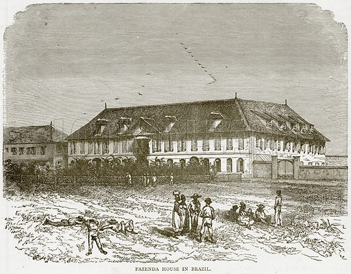 Fezenda House in Brazil. Illustration from Illustrated Travels edited by HW Bates (Cassell, c 1880).