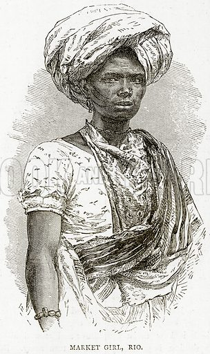 Market Girl, Rio. Illustration from Illustrated Travels edited by HW Bates (Cassell, c 1880).