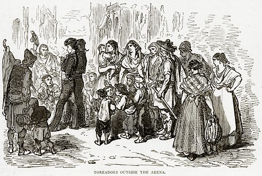 Toreadors outside the Arena. Illustration from Illustrated Travels edited by HW Bates (Cassell, c 1880).