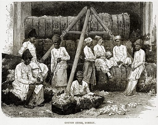 Cotton Store, Bombay. Illustration from Illustrated Travels edited by HW Bates (Cassell, c 1880).