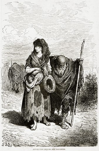 Andalusian Beggar and Daughter. Illustration from Illustrated Travels edited by HW Bates (Cassell, c 1880).