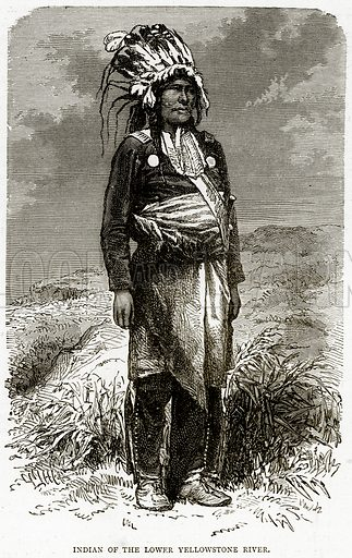 Indian of the Lower Yellowstone River. Illustration from Illustrated Travels edited by HW Bates (Cassell, c 1880).