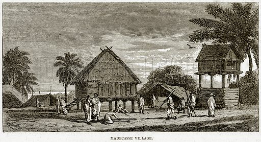 Madecasse Village. Illustration from Illustrated Travels edited by HW Bates (Cassell, c 1880).