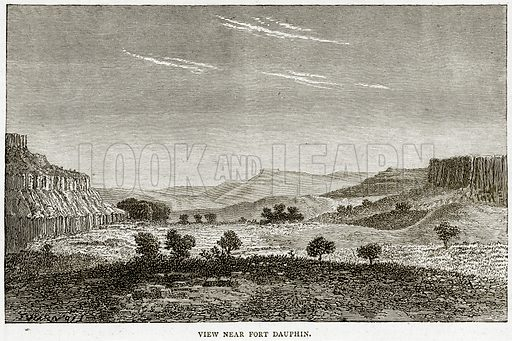 View near Fort Dauphin. Illustration from Illustrated Travels edited by HW Bates (Cassell, c 1880).