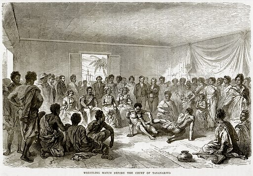 Wrestling Match before the Court of Tananarivo. Illustration from Illustrated Travels edited by HW Bates (Cassell, c 1880).
