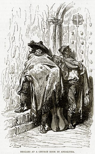 Beggars at a Church Door in Andalusia. Illustration from Illustrated Travels edited by HW Bates (Cassell, c 1880).