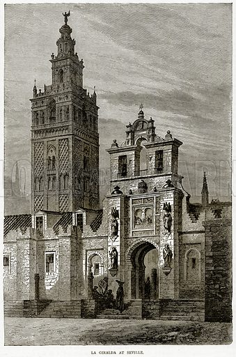 La Giralda at Seville. Illustration from Illustrated Travels edited by HW Bates (Cassell, c 1880).