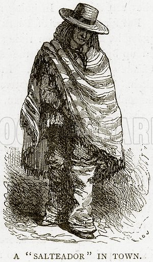 """A""""Salteador"""" in Town. Illustration from Illustrated Travels edited by HW Bates (Cassell, c 1880)."""