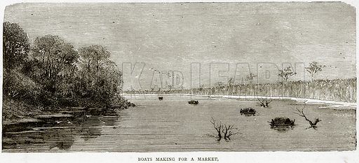 Boats making for a Market. Illustration from Illustrated Travels edited by HW Bates (Cassell, c 1880).