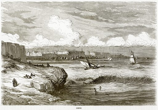 Cadiz. Illustration from Illustrated Travels edited by HW Bates (Cassell, c 1880).