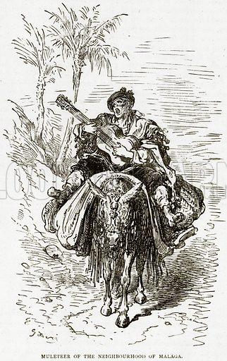Muleteer of the Neighbourhood of Malaga. Illustration from Illustrated Travels edited by HW Bates (Cassell, c 1880).