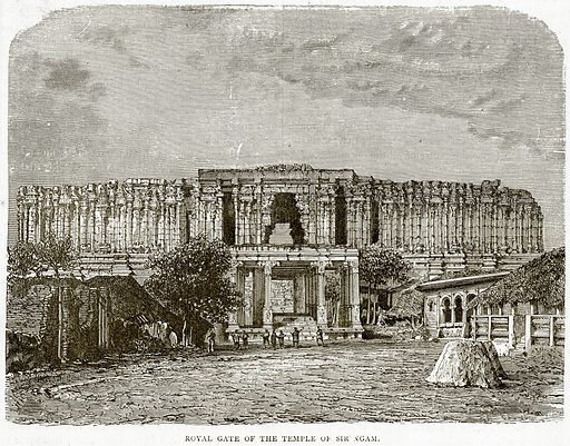 Royal Gate of the Temple of Sir Ngam. Illustration from Illustrated Travels edited by HW Bates (Cassell, c 1880).