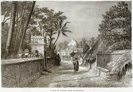 Mosque of Nuthur, near Trichinopoly. Illustration from Illustrated Travels edited by HW Bates (Cassell, c 1880).