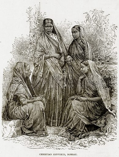 Christian Converts, Bombay. Illustration from Illustrated Travels edited by HW Bates (Cassell, c 1880).