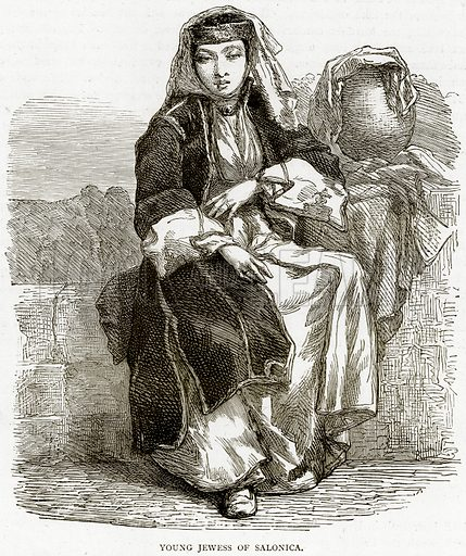 Young Jewess of Salonica. Illustration from Illustrated Travels edited by HW Bates (Cassell, c 1880).