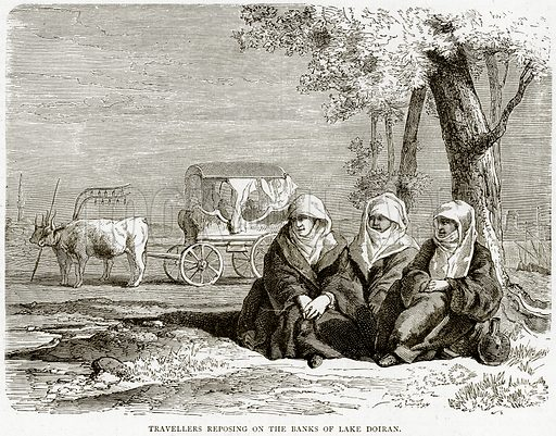 Travellers reposing on the Banks of Lake Doiran. Illustration from Illustrated Travels edited by HW Bates (Cassell, c 1880).