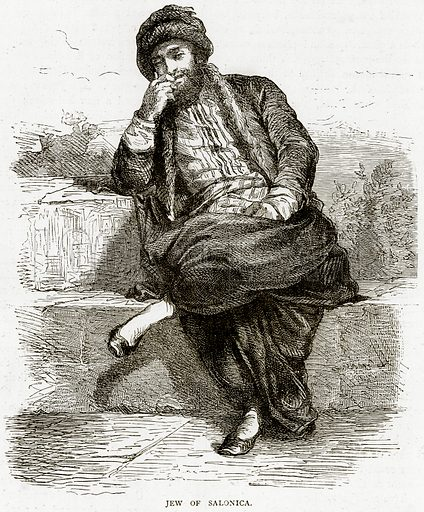 Jew of Salonica. Illustration from Illustrated Travels edited by HW Bates (Cassell, c 1880).
