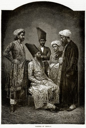 Parsees of Bombay. Illustration from Illustrated Travels edited by HW Bates (Cassell, c 1880).