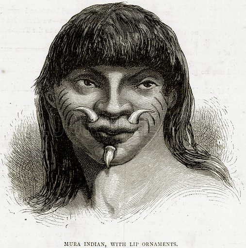 Mura Indian, with Lip Ornaments. Illustration from Illustrated Travels edited by HW Bates (Cassell, c 1880).