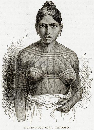 Mundurucu Girl, Tatooed. Illustration from Illustrated Travels edited by HW Bates (Cassell, c 1880).