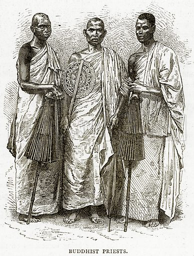 Buddhist Priests. Illustration from Illustrated Travels edited by HW Bates (Cassell, c 1880).