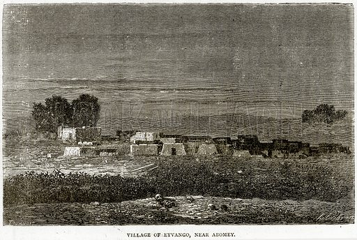 Village of Eyvango, near Abomey. Illustration from Illustrated Travels edited by HW Bates (Cassell, c 1880).