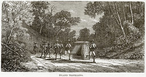Inland Travelling. Illustration from Illustrated Travels edited by HW Bates (Cassell, c 1880).