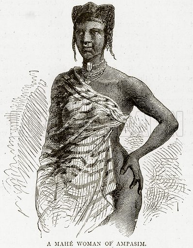 A Mahe Woman of Ampasim. Illustration from Illustrated Travels edited by HW Bates (Cassell, c 1880).