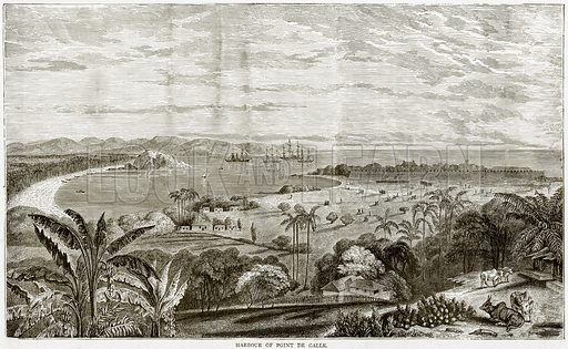 Harbour of Point de Galle. Illustration from Illustrated Travels edited by HW Bates (Cassell, c 1880).