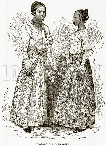 Women of Ceylon. Illustration from Illustrated Travels edited by HW Bates (Cassell, c 1880).