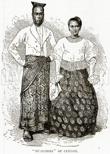 """""""Burghers"""" of Ceylon. Illustration from Illustrated Travels edited by HW Bates (Cassell, c 1880)."""