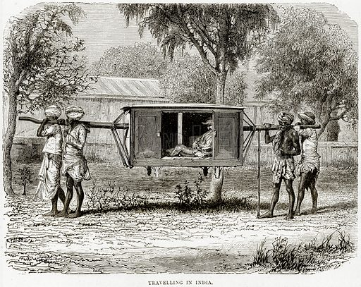 Travelling in India. Illustration from Illustrated Travels edited by HW Bates (Cassell, c 1880).