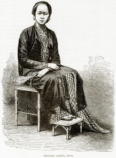 Princess Saripa, Java. Illustration from Illustrated Travels edited by HW Bates (Cassell, c 1880).
