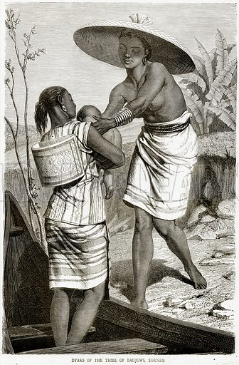 Dyaks of the Tribe of Badjows, Borneo. Illustration from Illustrated Travels edited by HW Bates (Cassell, c 1880).