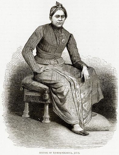 Sultan of Djokojokkarta, Java. Illustration from Illustrated Travels edited by HW Bates (Cassell, c 1880).
