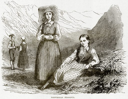 Norwegian Peasants. Illustration from Illustrated Travels edited by HW Bates (Cassell, c 1880).