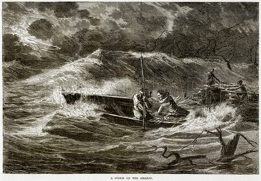 A Storm on the Amazon. Illustration from Illustrated Travels edited by HW Bates (Cassell, c 1880).