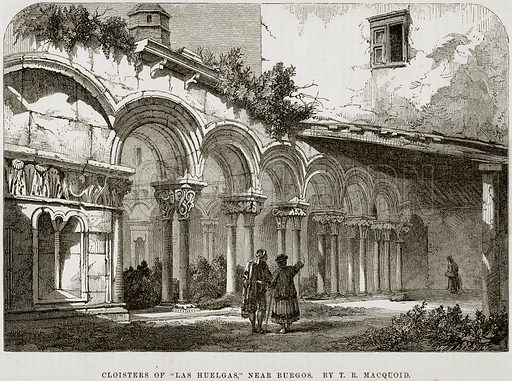 """Cloisters of """"Las Huelgas,"""" near Burgos. By TR Macquoid. Illustration from The National Magazine (Kent, 1860)."""