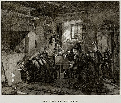 The Sunbeams. By T Faed. Illustration from The National Magazine (Kent, 1860).