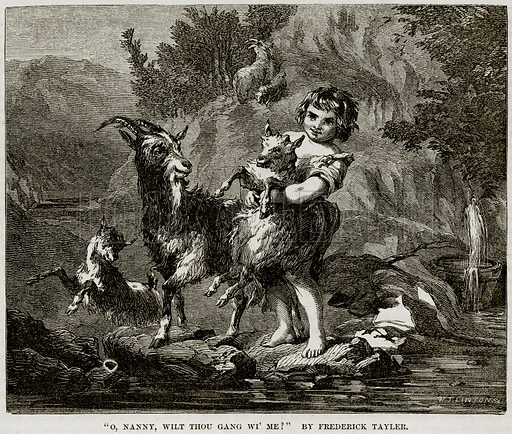 """""""O, Nanny, Wilt Thou Gang WI' me?"""" By Frederick Tayler. Illustration from The National Magazine (Kent, 1860)."""