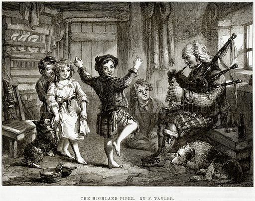 The Highland Piper. By F Tayler. Illustration from The National Magazine (Kent, 1860).