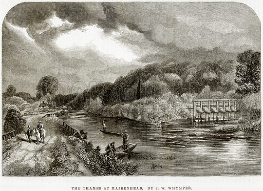 The Thames at Maidenhead. By JW Whymper. Illustration from The National Magazine (Kent, 1860).