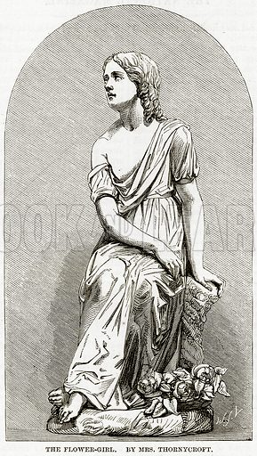 The Flower-Girl. By Mrs Thornycroft. Illustration from The National Magazine (Kent, 1860).