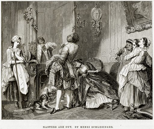 Masters are Out. By Henri Schlesinger. Illustration from The National Magazine (Kent, 1860).